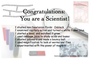 Science club diploma